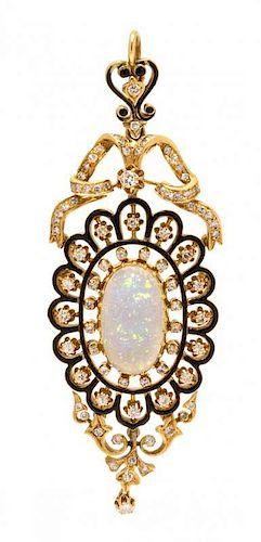 An 18 Karat Yellow Gold, Opal, Diamond and Enamel Pendant/Brooch, Italian, 15.10 dwts.