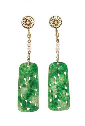 A Pair of 14 Karat Yellow Gold, Jadeite Jade and Faux Pearl Earclips, 2.30 dwts.