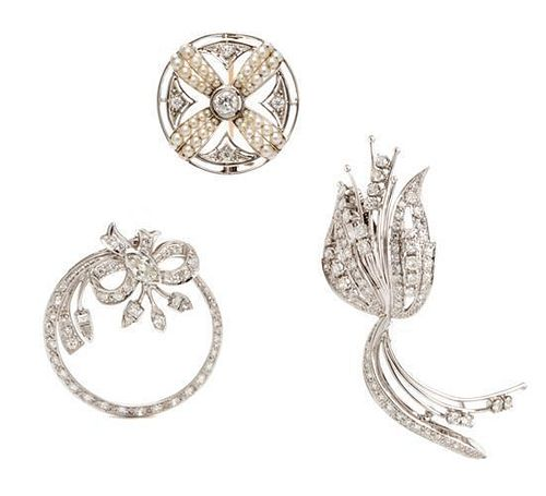 A Collection of Platinum, White Gold, Diamond and Seed Pearl Brooches, 18.00 dwts.