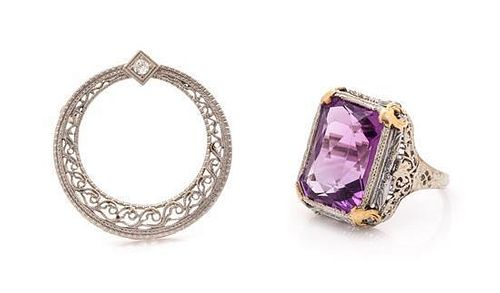 A Collection of Antique 14 Karat White Gold and Gemstone Jewelry, 6.16 dwts.