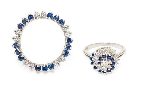 * A Collection of White Gold, Diamond and Sapphire Jewelry, 5.60 dwts.