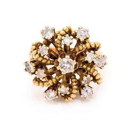 A Yellow Gold and Diamond Ring, 7.20 dwts.
