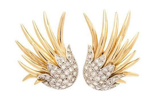 A Pair of 14 Karat Bicolor Gold and Diamond Earclips, 9.90 dwts.