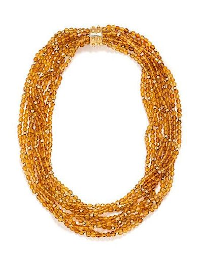 An 18 Karat Yellow Gold and Citrine Multistrand Necklace, 64.20 dwts.