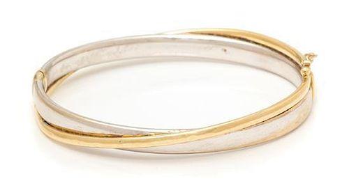 A 14 Karat Bicolor Gold Bangle Bracelet, Turkey, 10.70 dwts.