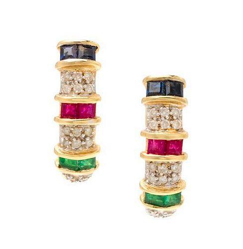 * A Pair 18 Karat Yellow Gold, Diamond, Ruby, Sapphire and Emerald Hoop Earrings, 4.50 dwts.
