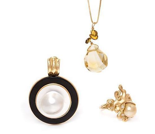 A Collection of 14 Karat Yellow Gold, and Gemstone Jewelry, 13.90 dwts.