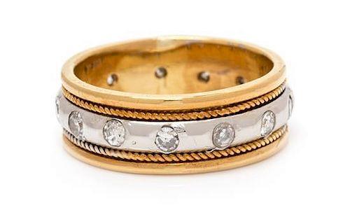 An 18 Karat Yellow Gold, Platinum and Diamond Ring, 6.30 dwts.