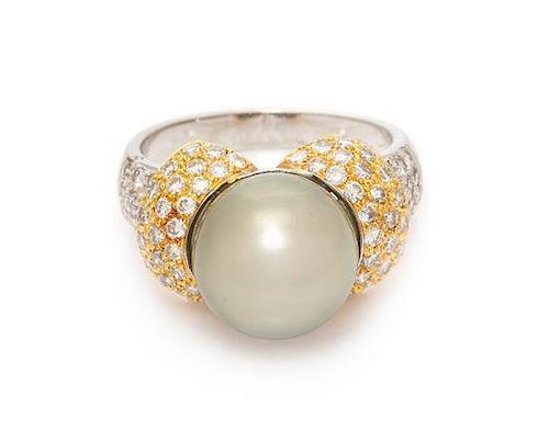 An 18 Karat Bicolor Gold, Cultured Tahitian Pearl and Diamond Ring,