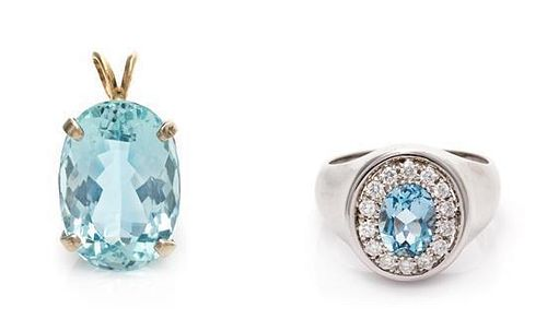 A Collection of Gold, Aquamarine and Diamond Jewelry, 7.30 dwts.