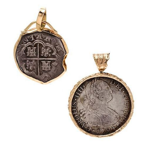 * A Collection of Yellow Gold and Spanish Silver Coin Pendants, 37.60 dwts.