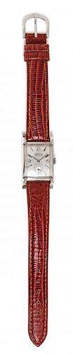 A 14 Karat White Gold 'VERI-THIN' Wristwatch, Gruen,