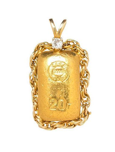 * A Yellow Gold, USSR 20 Gram Ingot and Diamond Pendant, 14.10 dwts.