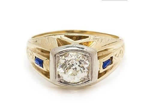 A 14 Karat Yellow Gold, Diamond and Synthetic Sapphire Ring, 5.15 dwts.