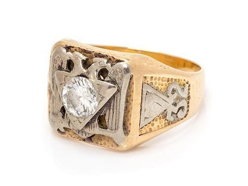 * A 14 Karat Bicolor Gold and Diamond 32nd Degree Scottish Right Mason Ring, 8.10 dwts.
