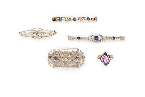 A Collection of Antique Gold, Sapphire, Synthetic Sapphire, Diamond, and Amethyst Jewelry, 9.10 dwts.