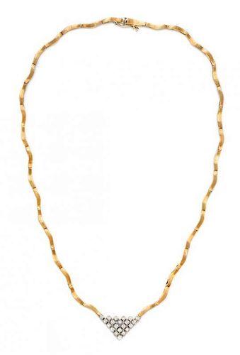 * An 18 Karat Yellow Gold and Diamond Necklace, 10.30 dwts.