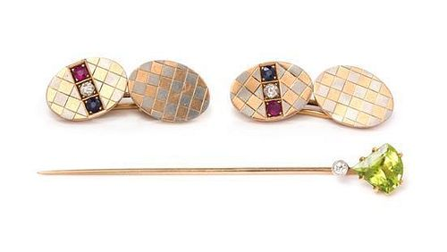 * A Collection of Antique Platinum Topped Rose Gold and Multigem Jewelry, 5.35 dwts.