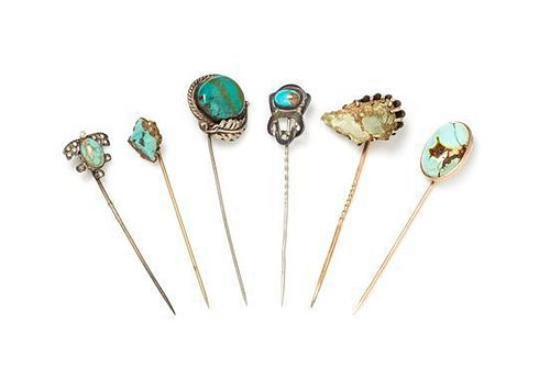 A Collection of Silver, Gold, Silver Tone, Gold Tone, Turquoise and Hardstone Stickpins, 12.00 dwts.