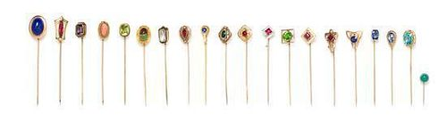 A Collection of Vintage Gold and Multigem Stickpins, 18.60 dwts.