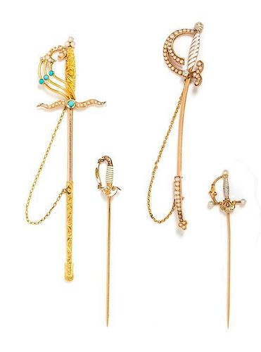 A Collection of Antique Yellow Gold, Multigem and Enamel Sword Motif Jabots and Pins, 11.20 dwts.
