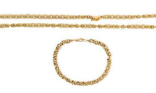 * An 18 Karat Yellow Gold Fancy Link Demi-Parure, 41.00 dwts.