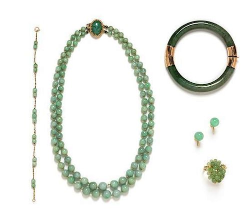 * A Collection of 14 Karat Yellow Gold and Jade Jewelry,