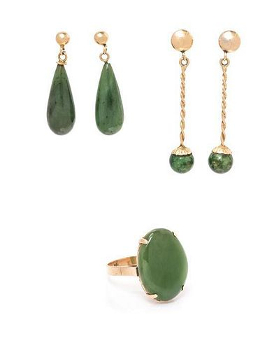 A Collection of Gold, Nephrite Jade and Hardstone Jewelry, 6.90 dwts