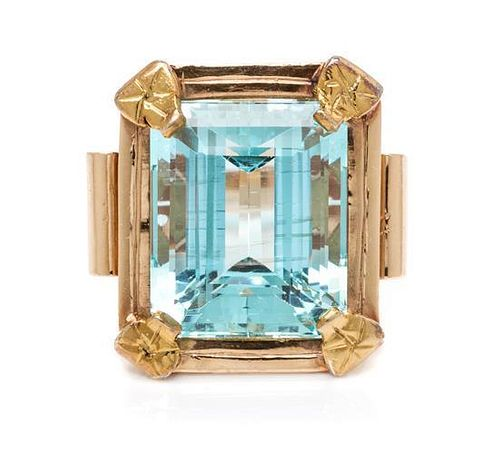 A Retro Bicolor Gold and Aquamarine Ring, 9.40 dwts.