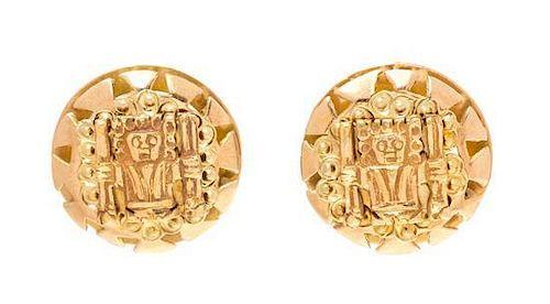 A Pair of 18 Karat Yellow Gold Earrings, 5.20 dwts.