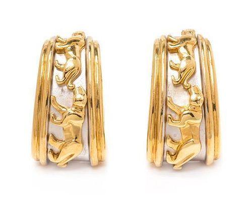 A Pair of 18 Karat Bicolor Gold Panther Motif Earclips, 12.40 dwts.