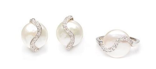 An 18 Karat White Gold, Sterling Silver, Cultured Coin Pearl and Diamond Demi-Parure, YVEL, 6.50 dwts.