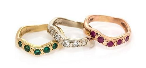 A Collection of 14 Karat Gold and Gemstone Stacking Rings, 9.30 dwts.