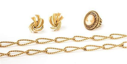 * A Collection of Vintage Yellow Gold Jewelry, 34.10 dwts.