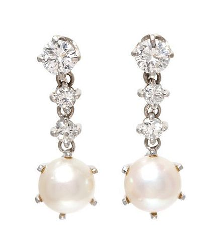 A Pair of White Gold, Diamond and Cultured Pearl Drop Earrings, 2.40 dwts.