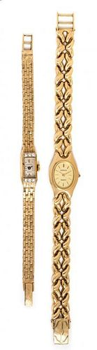 A Collection of 14 Karat Yellow Gold and Diamond Wristwatches, Geneve, 33.10 dwts.
