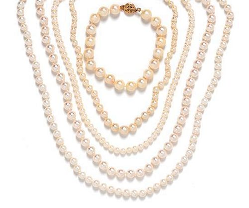 A Collection of 14 Karat Yellow Gold and Cultured Pearl Jewelry,
