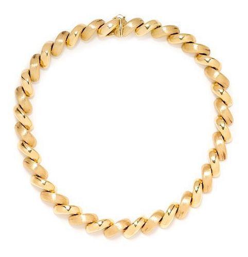 * A 14 Karat Yellow Gold San Marco Link Necklace, Aurafin, 39.15 dwts.