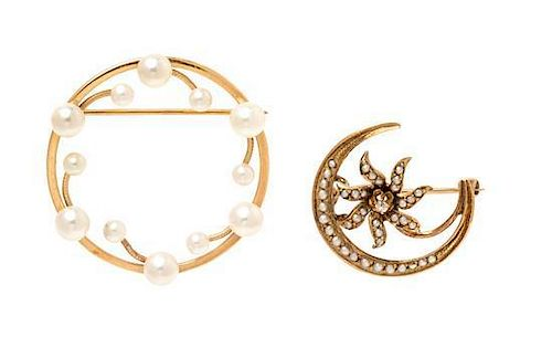 A Collection of Yellow Gold and Pearl Brooches, 4.50 dwts.