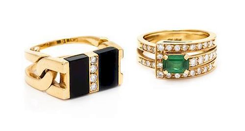 * A Collection of Yellow Gold, Diamond and Gemstone Rings, 11.70 dwts.