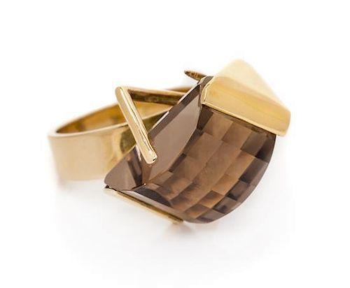 * A Mid-Century Modern 14 Karat Yellow Gold and Smoky Quartz Ring, Margaret De Patta, 7.80 dwts.