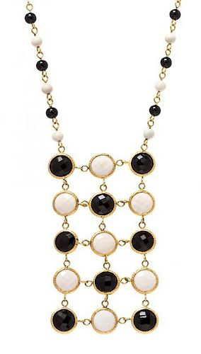A 14 Karat Yellow Gold, Black and White Onyx Necklace, Italian, 10.10 dwts.