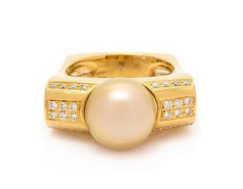 An 18 Karat Yellow Gold, Cultured South Sea Pearl and Diamond Ring, Kurt Wayne, 10.70 dwts.