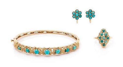A Collection of Yellow Gold and Turquoise Jewelry, 12.40 dwts.