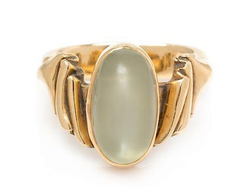 A 14 Karat Yellow Gold and Moonstone Ring, 5.20 dwts.