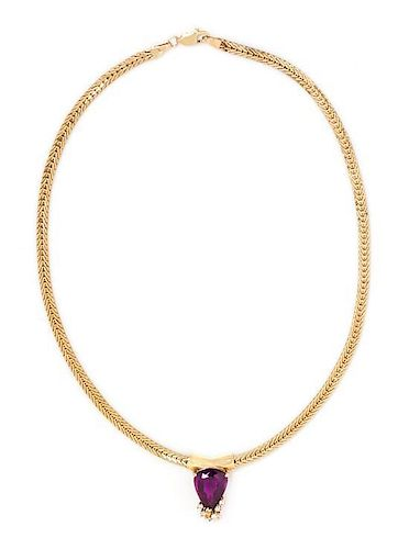 A 14 Karat Yellow Gold, Amethyst, Diamond and Colored Diamond Necklace, 11.40 dwts.