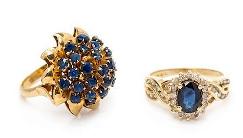 * A Collection of 14 Karat Yellow Gold and Sapphire Rings, 6.50 dwts.