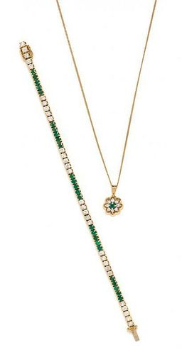 * A Collection of Yellow Gold, Diamond and Emerald Jewelry, 9.30 dwts.
