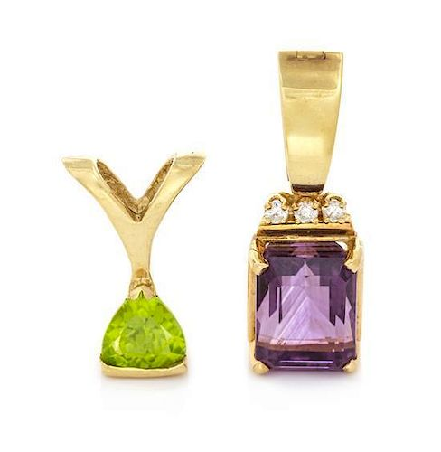A Collection of Yellow Gold, Peridot, Amethyst and Diamond Pendants, 4.10 dwts.