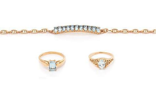 A Collection of 14 Karat Yellow Gold and Aquamarine Jewelry, 6.40 dwts.
